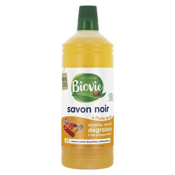 Biovie Entretien Multi-Usages Savon Noir Liquide à l'Huile de Lin 1L