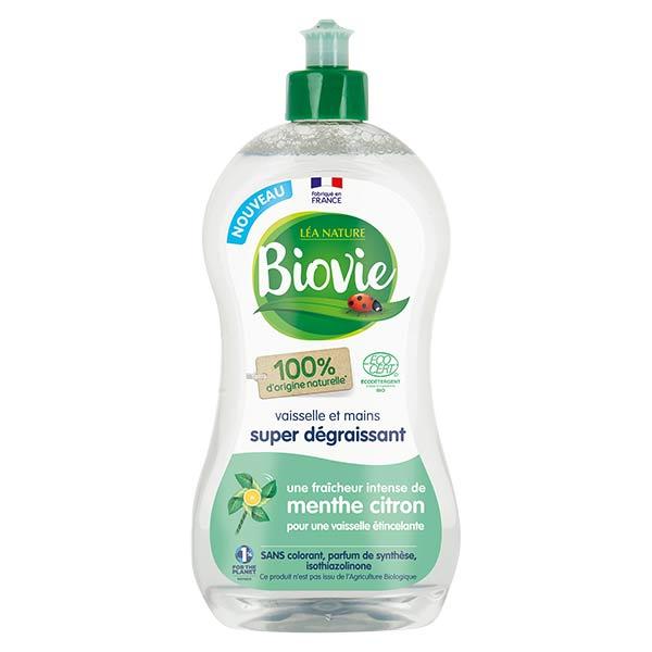 Biovie Vaisselle Mains Super Dégraissant Huile Essentielle de Menthe et Citron Bio 500ml