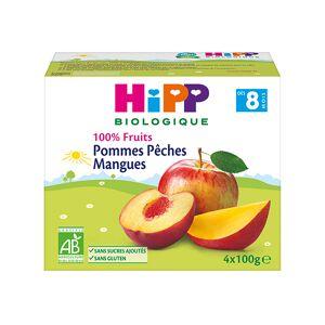 Hipp Bio 100% Fruits Coupelle Pommes Pêches Mangues +8m Lot de 4 x 100g - Publicité