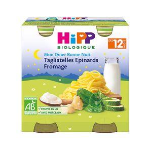 Hipp Bio Mon Dîner Bonne Nuit Bio Tagliatelles Epinards Fromage +12m Lot de 2 x 250g - Publicité