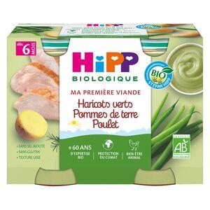 Hipp Bio Ma Première Viande Pot Haricots Verts Pommes de Terre Poulet +6m 2 x 190g - Publicité