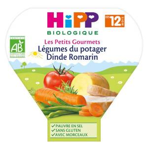 Hipp Bio Les Petits Gourmets Assiette Légumes du Potager Dinde Romarin +12m 230g - Publicité