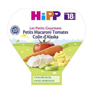 Hipp Bio Les Petits Gourmets Assiette Petits Macaroni Tomates Colin d'Alaska +18m 260g - Publicité