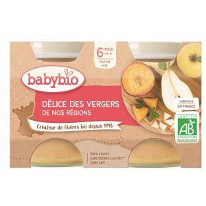Babybio Mes Fruits Pot Délice des Vergers +6m Bio 2 x 130g - Publicité