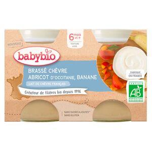 Babybio Douceur de Lait Pot au Lait de Chèvre Abricot Banane +6m Bio Lot de 2 x 130g - Publicité
