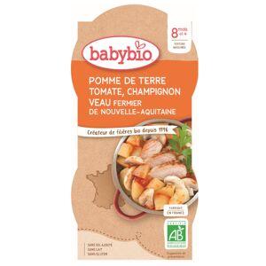 Babybio Menu du Jour Bol Pomme de Terre Tomate Champignon Veau +8m Bio 2 x 200g - Publicité