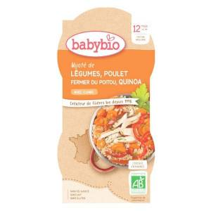 Babybio Menu du Jour Bol Mijoté de Légumes Poulet Quinoa +12m Bio 2 x 200g - Publicité