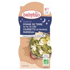 Babybio Bonne Nuit Bol Ecrasé Pomme de Terre Courgette +8m Bio 2 x 200g - Publicité