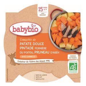 Babybio Menu du Jour Assiette Compotée Patate Douce Pintade Pruneau +15m Bio 260g - Publicité