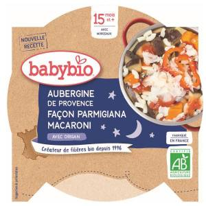 Babybio Bonne Nuit Assiette Aubergines Parmigiana Macaroni +15m Bio 260g - Publicité