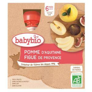 Babybio Mes Fruits Gourde Pomme Figue +6m Bio 4 x 90g - Publicité