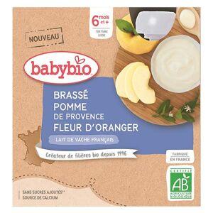 Babybio Mes Brassés Gourde Lactée au Lait de Vache Pomme de Provence Fleur d'Oranger +6m Bio 4 x 85g - Publicité