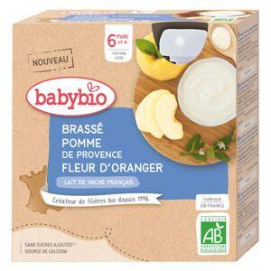 Babybio Gourdes Lactées Brassé au Lait de Vache Pomme de Provence Fleur d'Oranger dès 6 mois 4 x 85g - Publicité