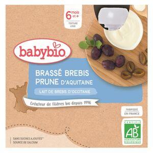 Babybio Mes Brassés Gourde Lactée Lait de Brebis Prune +6m Bio 4 x 85g - Publicité