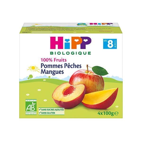 Hipp Bio 100% Fruits Coupelle Pommes Pêches Mangues +8m Lot de 4 x 100g