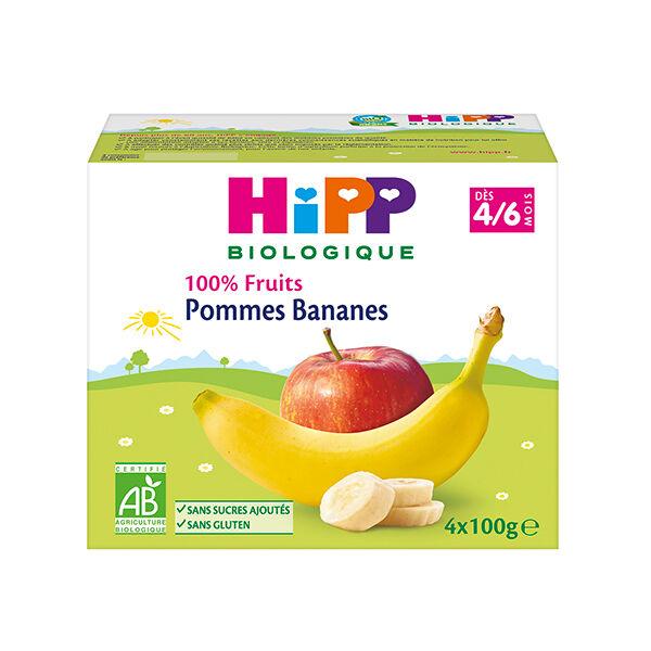 Hipp Bio 100% Fruits Coupelle Pommes Bananes 4-6m Lot de 4 x 100g