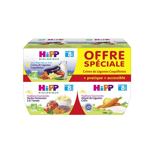Hipp Bio Traditions Gourmandes Ensemble de Menus +8m Lot de 4 x 190g