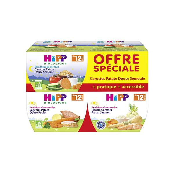 Hipp Bio Traditions Gourmandes Bio Ensemble de Menus +12m Lot de 4 x 220g