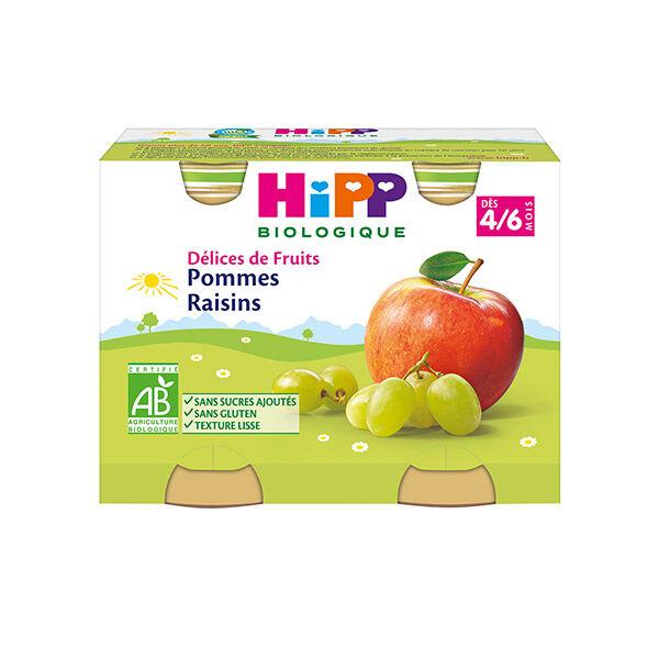 Hipp Bio Délices de Fruits Pommes Raisins +4-6m 2 x 190g