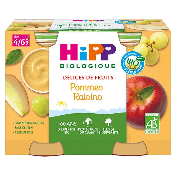 Hipp Bio Délices de Fruits Pot Pommes Raisins +4m 2 x 190g
