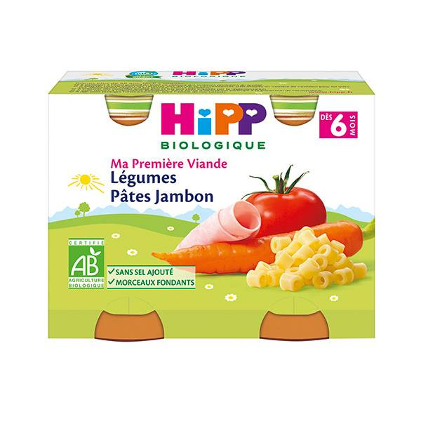 Hipp Bio Ma Première Viande Pot Légumes Pâtes Jambon +6m 2 x 190g