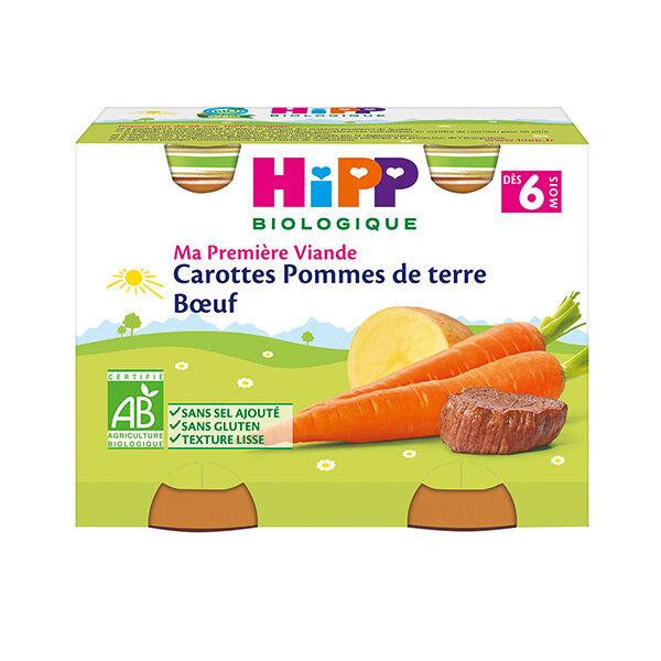 Hipp Bio Ma Première Viande Pot Carottes Pommes de Terre Boeuf +6m 2 x 190g