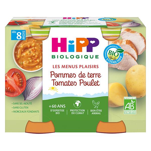 Hipp Bio Les Menus Plaisirs Pot Pommes de Terre Tomates Poulet +8m 2 x 190g