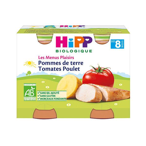 Hipp Bio Les Menus Plaisirs Bio Pommes de Terre Tomates Poulet +8m Lot de 2 x 190g