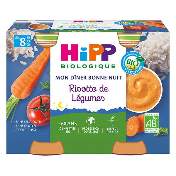 Hipp Bio Mon Dîner Bonne Nuit Bol Risotto de Légumes +8m 2 x 190g