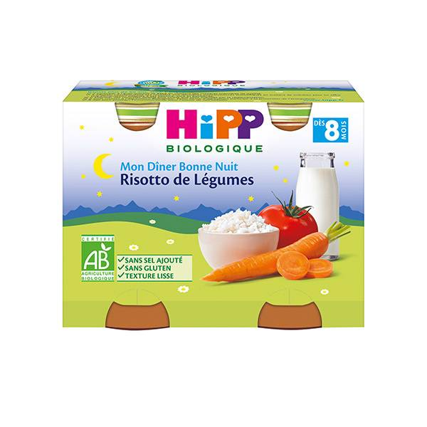 Hipp Bio Mon Dîner Bonne Nuit Risotto de Légumes +8m Lot de 2 x 190g