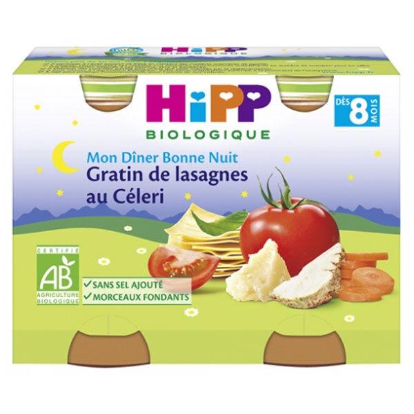 Hipp Bio Mon Dîner Bonne Nuit Bol Gratin de Lasagnes au Céleri +8m Lot de 2 x 190g