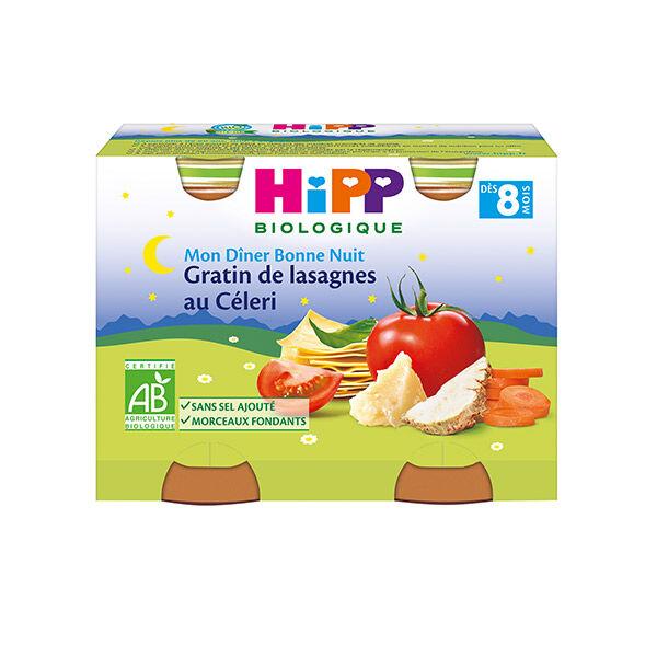 Hipp Bio Mon Dîner Bonne Nuit Gratin de Lasagnes au Céleri +8m Lot de 2 x 190g