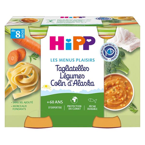 Hipp Bio Les Menus Plaisirs Pot Tagliatelles Légumes Colin d'Alaska +8m 2 x 190g