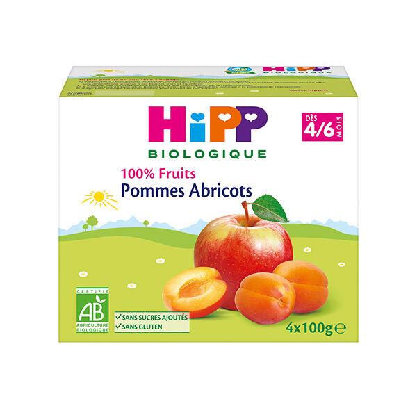 Hipp Bio 100% Fruits Coupelle Pommes Abricots 4-6m Lot de 4 x 100g