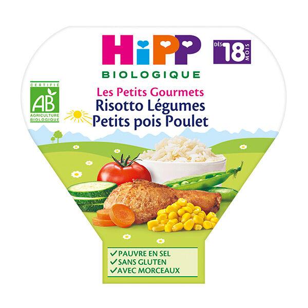 Hipp Bio Les Petits Gourmets Assiette Risotto Légumes Petits Pois Poulet +18m 260g