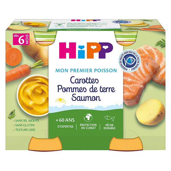 Hipp Bio Mon Premier Poisson Pot Carottes Pommes de Terre Saumon +6m 2 x 190g