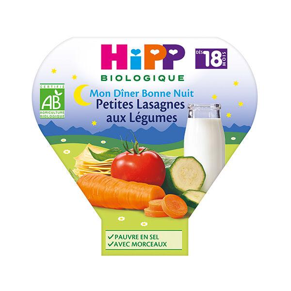 Hipp Bio Mon Dîner Bonne Nuit Assiette Petites Lasagnes aux Légumes +18m 260g