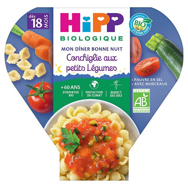 Hipp Bio Mon Dîner Bonne Nuit Assiette Conchiglie Petits Légumes +18m 260g
