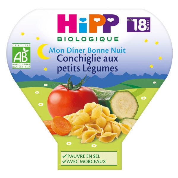 Hipp Bio Mon Dîner Bonne Nuit Conchiglie Petits Légumes +18m 260g