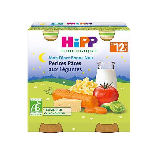 Hipp Bio Mon Dîner Bonne Nuit Petites Pâtes aux Légumes +12m Lot de 2 x 250g