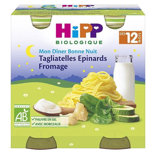 Hipp Bio Mon Dîner Bonne Nuit Bol Tagliatelles Epinards Fromage +12m Lot de 2 x 250g