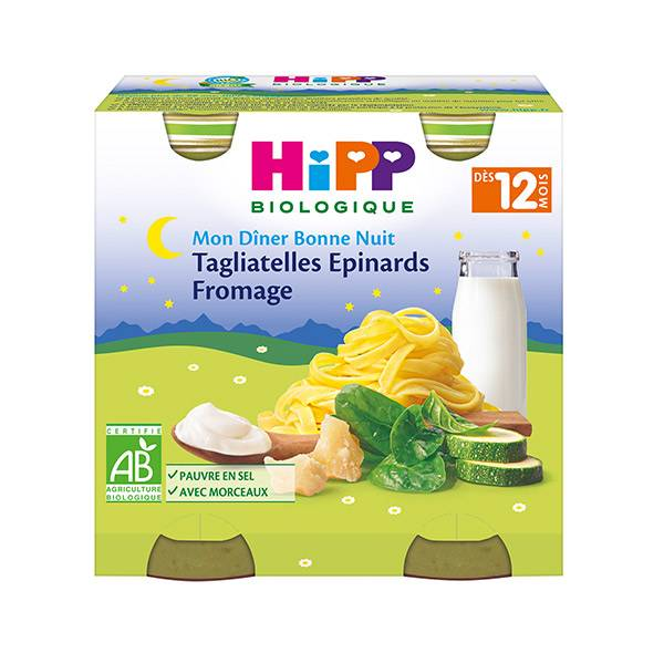 Hipp Bio Mon Dîner Bonne Nuit Bio Tagliatelles Epinards Fromage +12m Lot de 2 x 250g