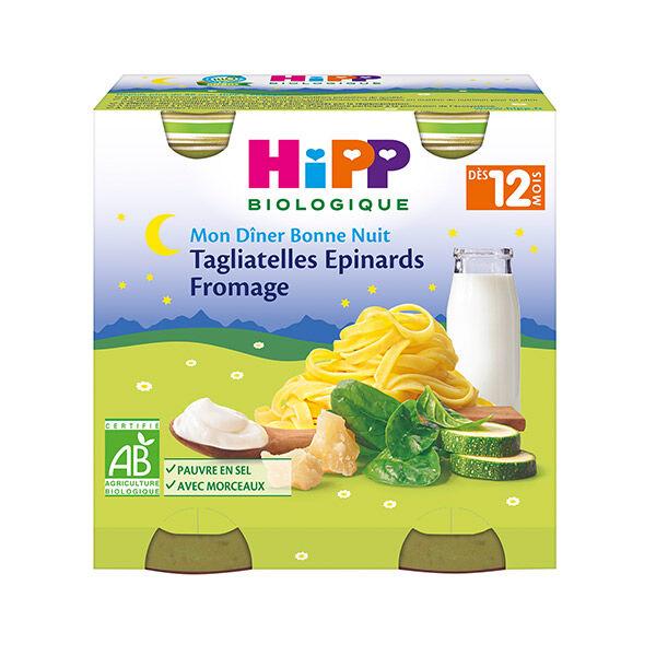 Hipp Bio Mon Dîner Bonne Nuit Bol Tagliatelles Epinards Fromage +12m 2 x 250g