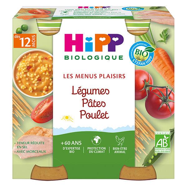 Hipp Bio Les Menus Plaisirs Pot Légumes Pâtes Poulet +12m 2 x 250g