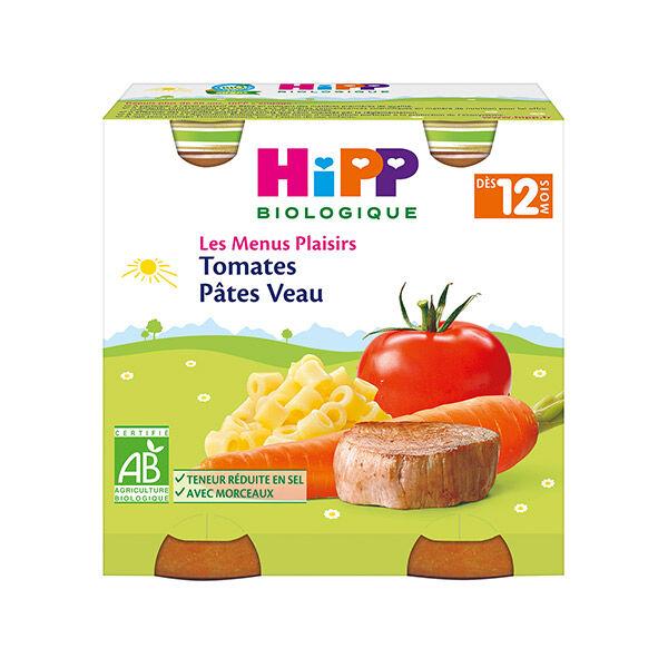Hipp Bio Les Menus Plaisirs Pot Tomates Pâtes Veau +12m 2 x 250g