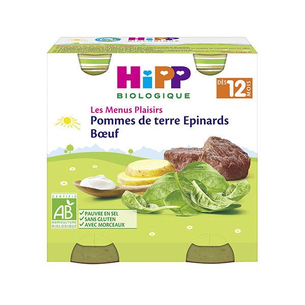 Hipp Bio Les Menus Plaisirs Épinards Pommes de Terre Bœuf +12m Lot de 2 x 250g