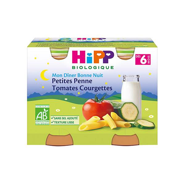 Hipp Bio Mon Dîner Bonne Nuit Petites Penne Tomates Courgettes +6m Lot de 2 x 190g
