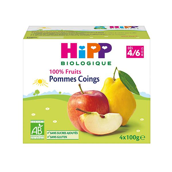 Hipp Bio 100% Fruits Coupelle Pommes Coings 4-6m Lot de 4 x 100g