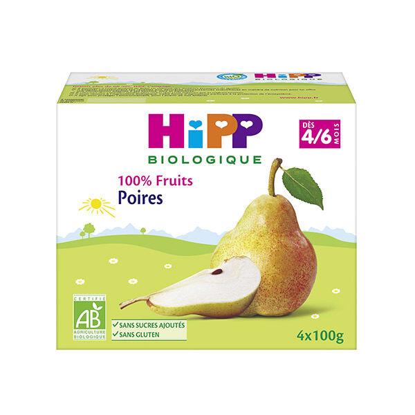 Hipp Bio 100% Fruits Coupelle Poires 4-6m Lot de 4 x 100g
