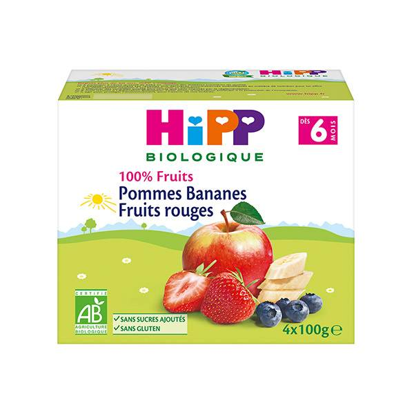 Hipp Bio 100% Fruits Coupelle Pommes Bananes Fruits Rouges +6m 4 x 100g